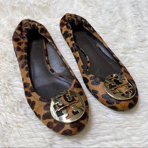 Tory Burch Calf Hair Leopard Print Reva Flats